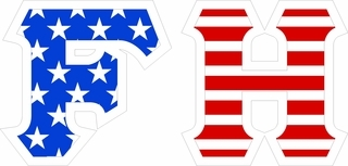 "FarmHouse Fraternity Giant 4"" American Flag Greek Letter Sticker"