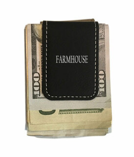 FARMHOUSE Greek Letter Leatherette Money Clip