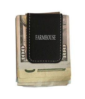 FARMHOUSE Greek Letter Leatherette Money Clip