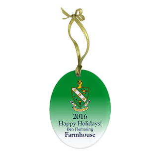 FarmHouse Fraternity Holiday Color Crest - Shield Glass Ornament