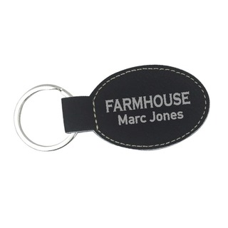 FarmHouse Fraternity Leatherette Oval Keychain