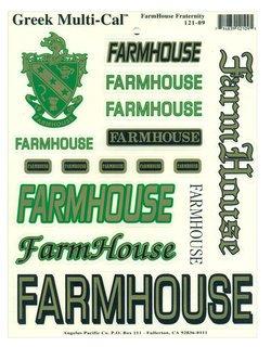 FarmHouse Fraternity Multi Greek Decal Sticker Sheet