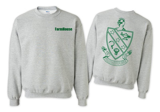 FarmHouse Fraternity World Famous Crest - Shield Printed Crewneck Sweatshirt- $25!