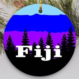 FIJI Christmas Mountains Round Ornaments