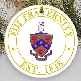 FIJI Circle Crest Round Ornaments