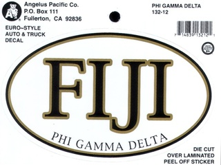 FIJI Fraternity Euro Decal Oval Sticker