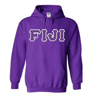 FIJI Fraternity Crest - Shield Twill Letter Hooded Sweatshirt