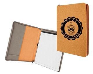 FIJI Fraternity Leatherette Zipper Portfolio with Notepad