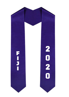 FIJI Greek Diagonal Lettered Graduation Sash Stole With Year
