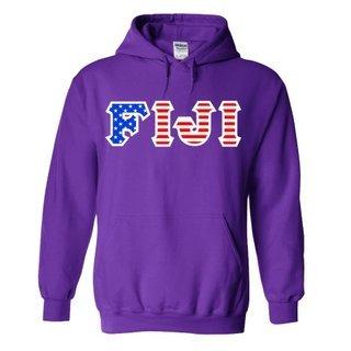FIJI Fraternity Letter American Flag Hoodie
