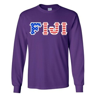 FIJI Fraternity Letter American Flag long sleeve tee