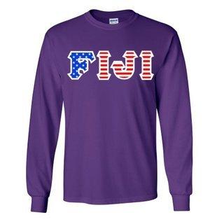 FIJI Fraternity Letter American Flag long sleeve tee