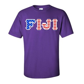 FIJI Fraternity Letter American Flag Tee