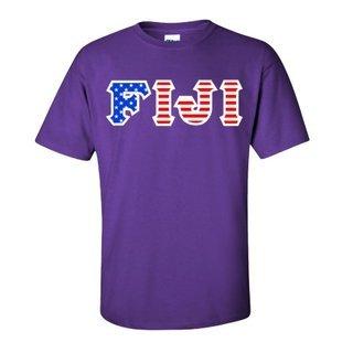 FIJI Fraternity Letter American Flag Tee