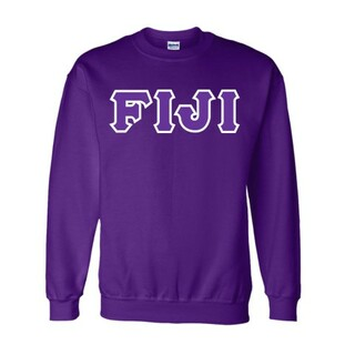 FIJI Fraternity Sewn Lettered Crewneck Sweatshirt