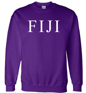 FIJI Fraternity Lettered World Famous Greek Crewneck