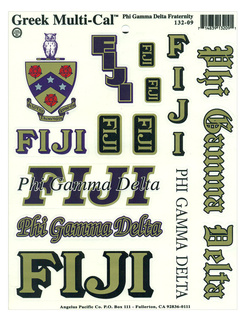FIJI Fraternity Multi Greek Decal Sticker Sheet