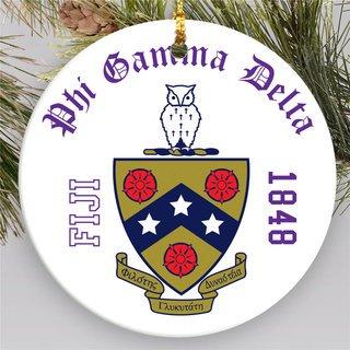 FIJI Round Christmas Shield Ornament