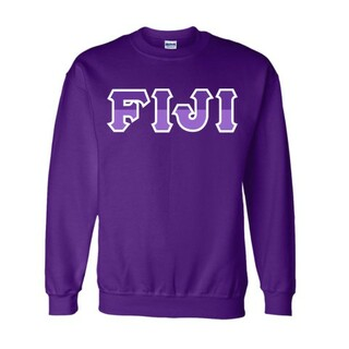FIJI Fraternity Two Tone Greek Lettered Crewneck Sweatshirt