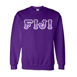 FIJI Fraternity Two Tone Greek Lettered Crewneck Sweatshirt