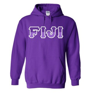 FIJI Fraternity Two Tone Greek Lettered Hooded Sweatshirt