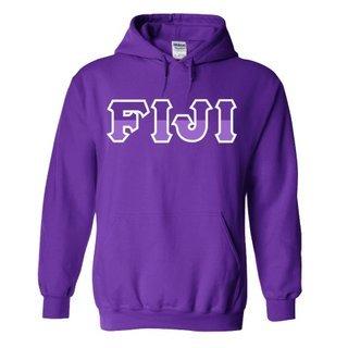 FIJI Fraternity Two Tone Greek Lettered Hooded Sweatshirt