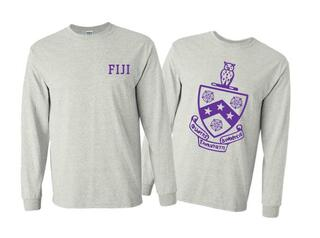 FIJI Fraternity World Famous Crest - Shield Long Sleeve T-Shirt- $19.95!