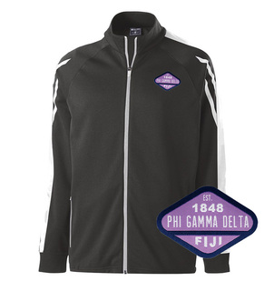 DISCOUNT-FIJI Fraternity Woven Emblem Greek Flux Track Jacket