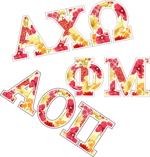 "Floral Sorority Greek Letter Sticker - 2.5"" Tall"