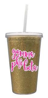 Gamma Phi Beta 16 OZ Sorority Newport Glitter Tumbler