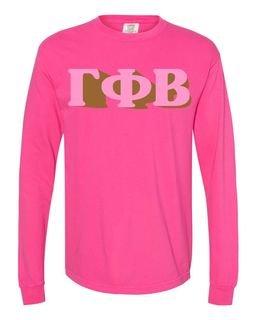 Gamma Phi Beta 3 D Greek Long Sleeve T-Shirt - Comfort Colors