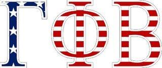 "Gamma Phi Beta American Flag Greek Letter Sticker - 2.5"" Tall"