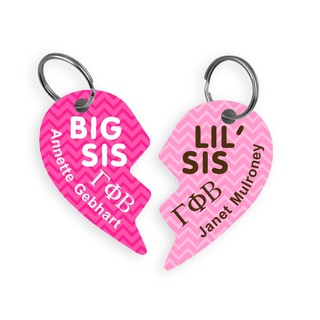 Gamma Phi Beta Big & Little Heart Halve Key Chains (2)