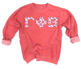 Gamma Phi Beta Comfort Colors Lettered Crewneck Sweatshirt