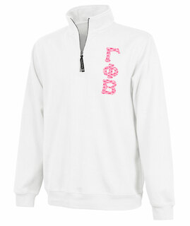 Gamma Phi Beta Crosswind Quarter Zip Twill Lettered Sweatshirt