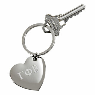 Gamma Phi Beta Cupid Heart Shaped Key Ring