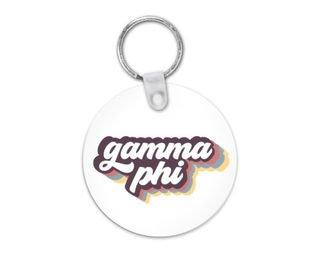 Gamma Phi Beta Retro Script Keychain