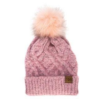 Gamma Phi Beta Faux Fur Pom Beanie Hat