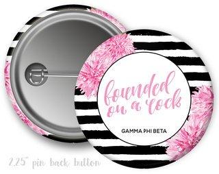 Gamma Phi Beta Floral Motto Button