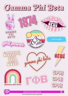 Gamma Phi Beta Girl Power Stickers