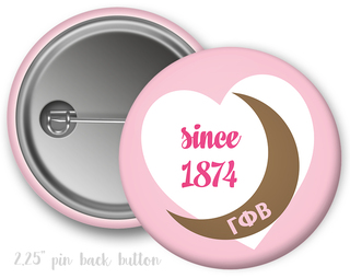 Gamma Phi Beta Heart Mascot Button