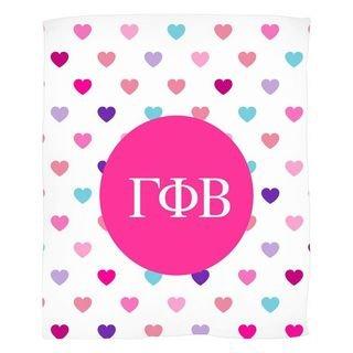 Gamma Phi Beta Hearts Fleece Blanket