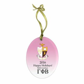 Gamma Phi Beta Holiday Color Crest - Shield Glass Ornament