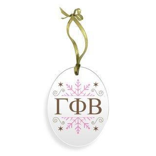 Gamma Phi Beta Holiday Color Snowflake Christmas Ornament