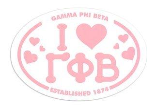 Gamma Phi Beta I Love Sorority Sticker - Oval