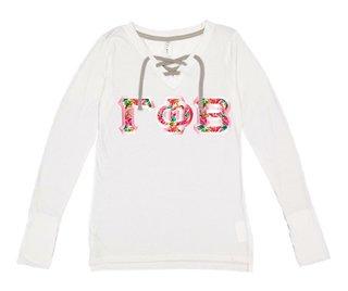 Gamma Phi Beta LAT - Sorority Fine Jersey Lace-Up Long Sleeve T-Shirt