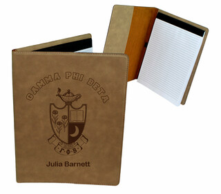Gamma Phi Beta Leatherette Portfolio with Notepad