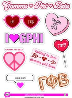 Gamma Phi Beta Love Theme Stickers