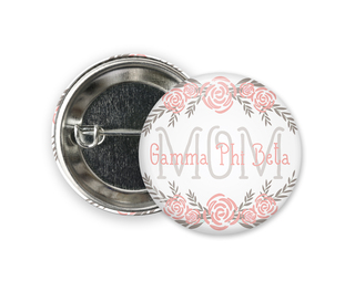 Gamma Phi Beta Mom Floral Button