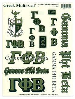 Gamma Phi Beta Multi Greek Decal Sheet